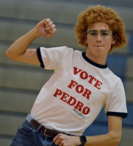 Senior Sam McKnight, Mr. Cross Country, performs a dance from the movie Napoleon Dynamite. Photo by Ally Griffith
