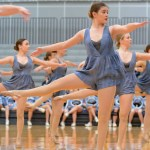 Sophomore Amelia Commerford does turns during the Lancer Dancer's performance. Photo by Katherine McGinness