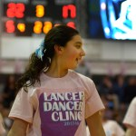 An aspiring Lancer Dancer who attended the Lancer Dancer clinic performs with others during halftime. Photo by Luke Hoffman