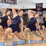 The varsity Lancer Dancer team performs their jazz dance, the same dance they plan to perform at their national competition. Photo by Luke Hoffman