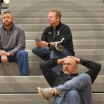 As representatives of the SM East administration, science teacher Russell Debey and Assistant Principal Britton Haney attend the Boys Varsity Basketball game vs. Lawrence Free State. Photo by Luke Hoffman