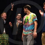 Seniors Quin Napier, Grant Mackender, and Dan Scott cheer on senior Sebastian Bruck when his name is announced as the winner of Mr. CANsas. Photo by Aislinn Menke