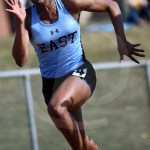 Senior Destiny Ray runs in the 100 meter dash. Photo by Kate Nixon