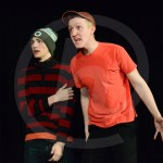 """In a rendition of the Disney/Pixar film """"Inside Out"""", juniors Cameron Schoeck and Henry Morgan perform as the characters Sadness and Anger. Photo by Annakate Dilks"""