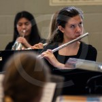 Senior Nat Nitsch looks for cues from the conductor. Photo by Dakota Zugelder