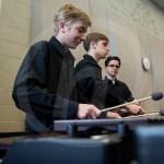Freshmen Noah Martin, Noah Gould, and Sophomore Nate Curry play scales on marimba. Photo by Dakota Zugelder