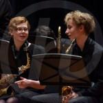 Freshman Abby Goodmon and Sophomore Alex Curchin discuss the music before contest performance. Photo by Dakota Zugelder