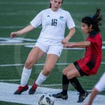 Sophomore Jilli Foley takes the ball away from the Indian's defense. Photo by Dakota Zugelder