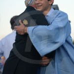 Senior Alex Frigerio hugs Mr. Bickers after he got his diploma. Photo by Reilly Moreland