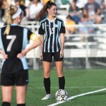 Junior Anna Perker prepares to kick off after West scored a goal. Photo by Trevor Paulus