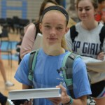 Sophomore Kim Schutzler says thank you to the year book distributors as she picks up her copy. Photo by Taylor Keal