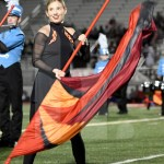 Senior Lauren Decker performs during the first movement of the halftime show. Photo by Kate Nixon