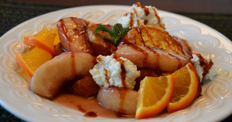 Beer Infused Peach French Toast with Ricotta and Blues Hog Champions Blend BBQ Sauce