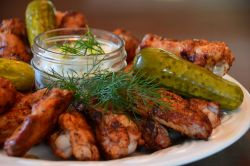 Dill Pickle Chicken Wings and Dill Pickle Dip