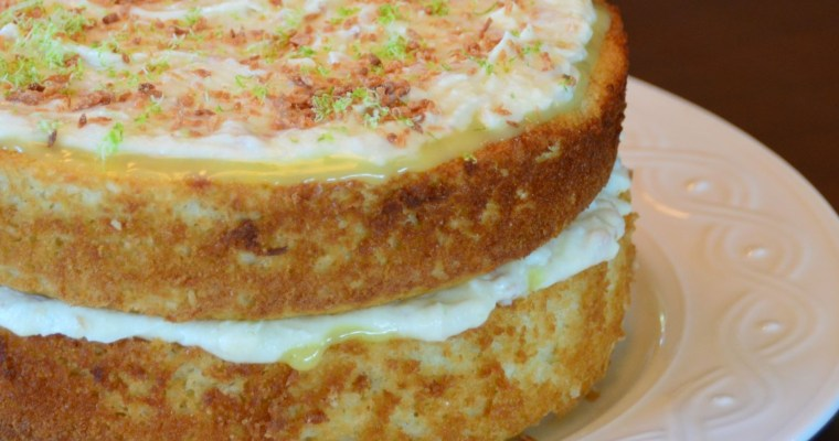Lime Coconut Cake with Coconut Cream Cheese Frosting