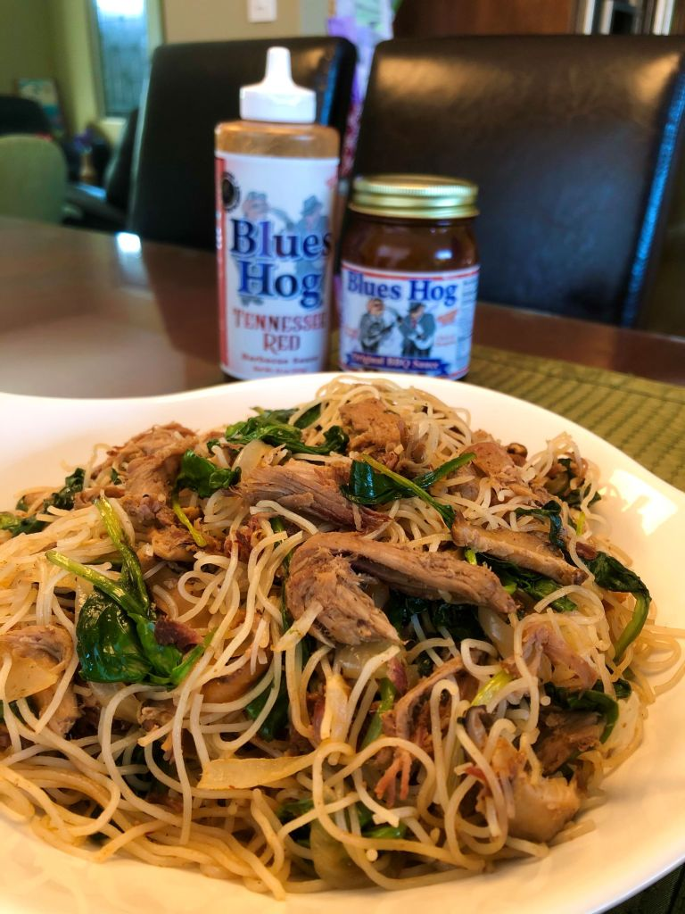 BBQ Pulled Pork Rice Noodles with Blues Hog Original and Blues Hog Tennessee Red Sauce