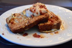 Banana Bread French Toast with Peanut Butter Cream and Bacon Bits