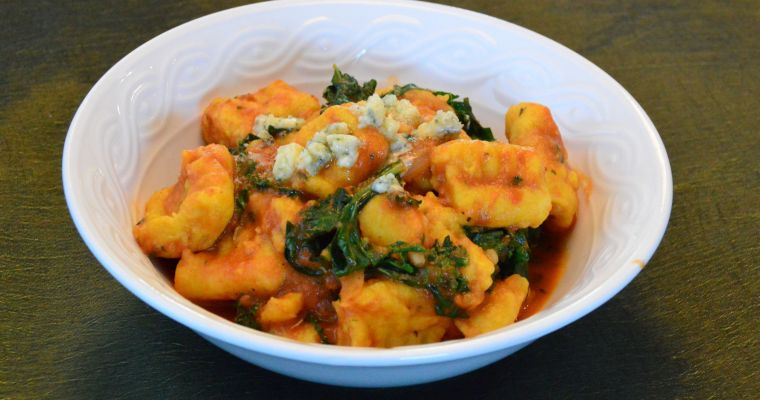 Gnocchi in Kale Tomato Sauce and Blue Cheese