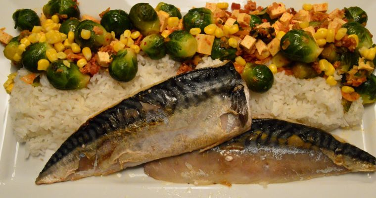 Korean Inspired Brussel Sprouts with Pan Fried Mackerel