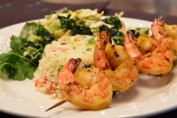 Grilled Mojo Shrimp & Lime Cilantro Cauliflower Rice