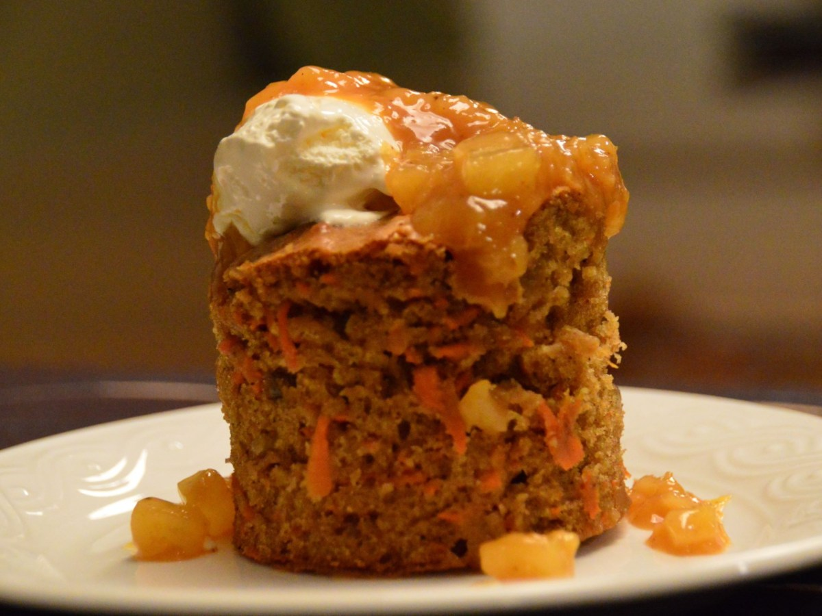 Carrot Cake with Pineapple Sauce