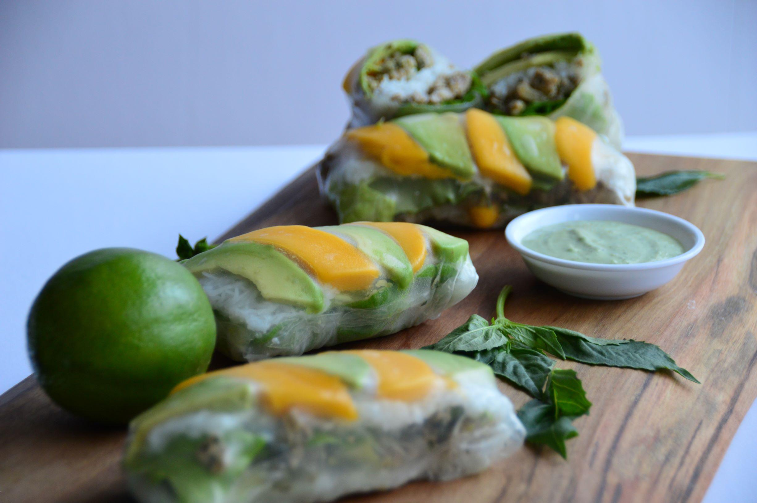 Avocado Basil Pheasant Salad Rolls with Avocado Sauce
