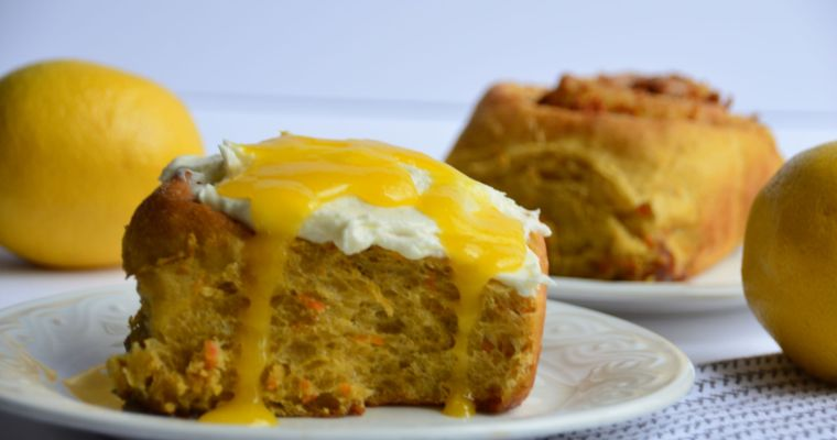 Carrot Cinnamon Roll with Cream Cheese Frosting and Lemon Curd