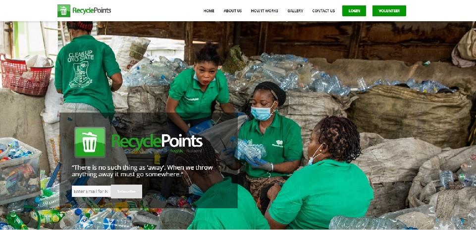 RecyclePoints website screenshot - Smepeaks