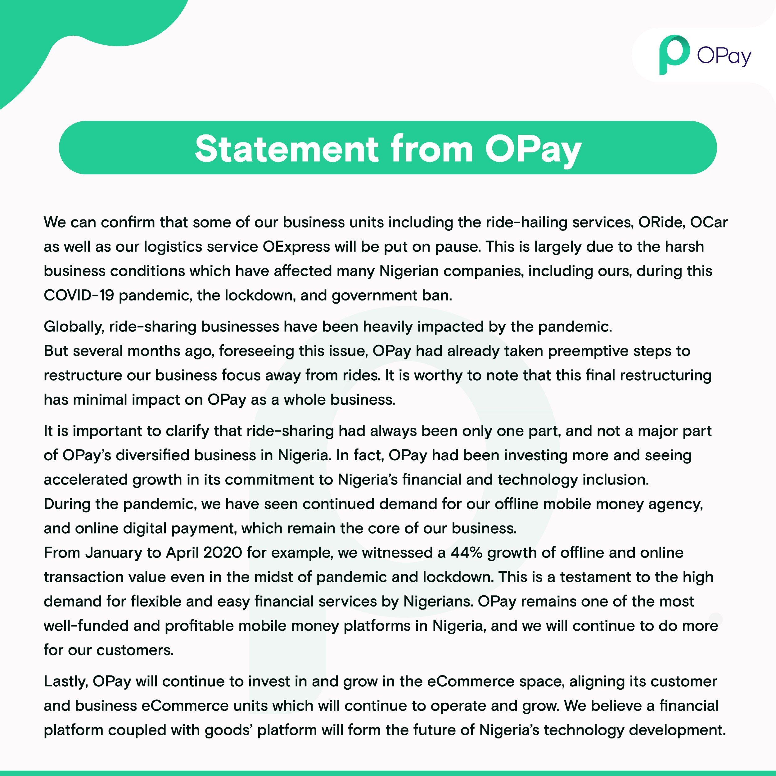 OPay shuts down business