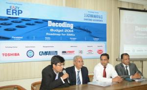 Panel Discussion at Decoding Budget Gurgaon event. from L to R: Mr Kunal Singhal, Mr NK Gupta, Mr Alok Gupta and Mr KK Tulshan