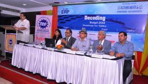 Panel Discussion at Decoding Budget Faridabad Event. From L to R: Mr Ramneek Prabhakar, Ms Surabhi Agarwal, Mr KK Tulshan, Mr Naresh Varma, Mr NK gupta and Mr Raj K Pathak