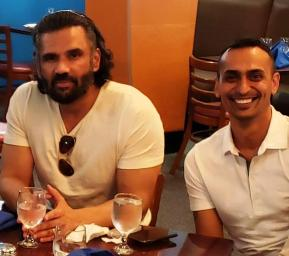 Himanshu B. Patel of Triton Solar with Bollywood Super Star Suniel Shetty