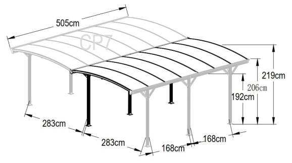SM Garden Sheds Kingston 20x16 Aluminium Dual Curved Carport (Expected January 2020 Call to PreOrder)