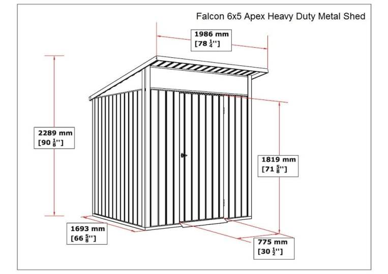 Falcon 6x5 Heavy Duty Metal Apex Shed  - Anthracite Dark Grey