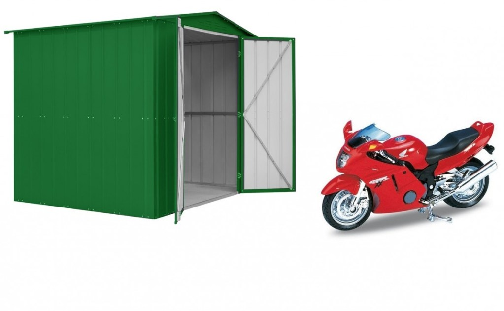 SM Garden Sheds Lotus 8x6 Double Hinged Motorcycle Metal Shed - Heritage Green