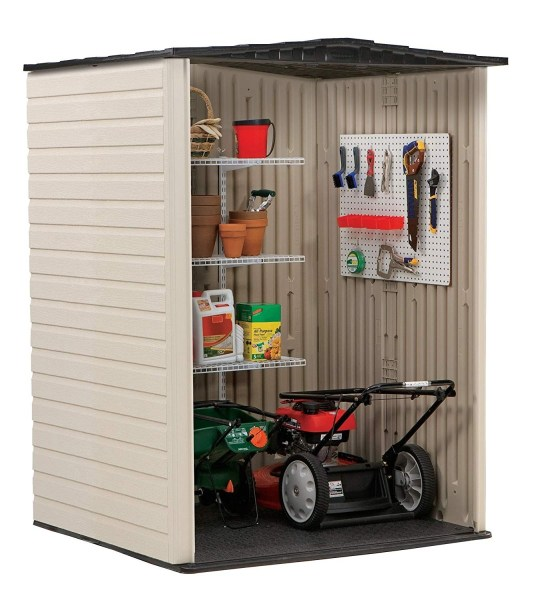 Rubbermaid Heavy Duty 5' x 4' Plastic Shed Sandalwood / Onyx Roof