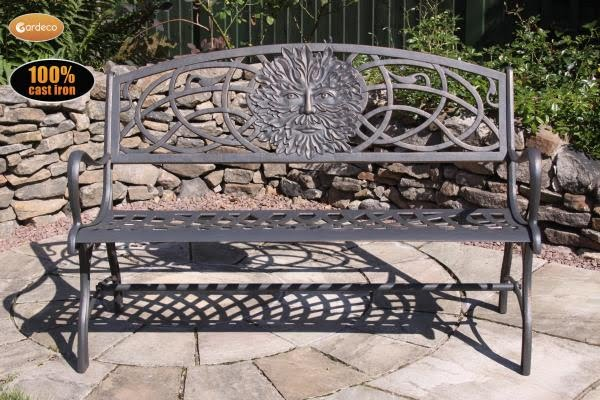 Gardeco Steel Framed Cast Iron Bench (with Green Man Logo)