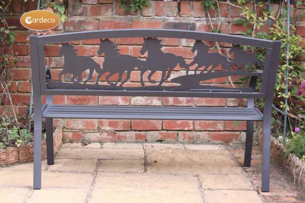Gardeco Steel Framed Cast Iron Bench (with running horses)