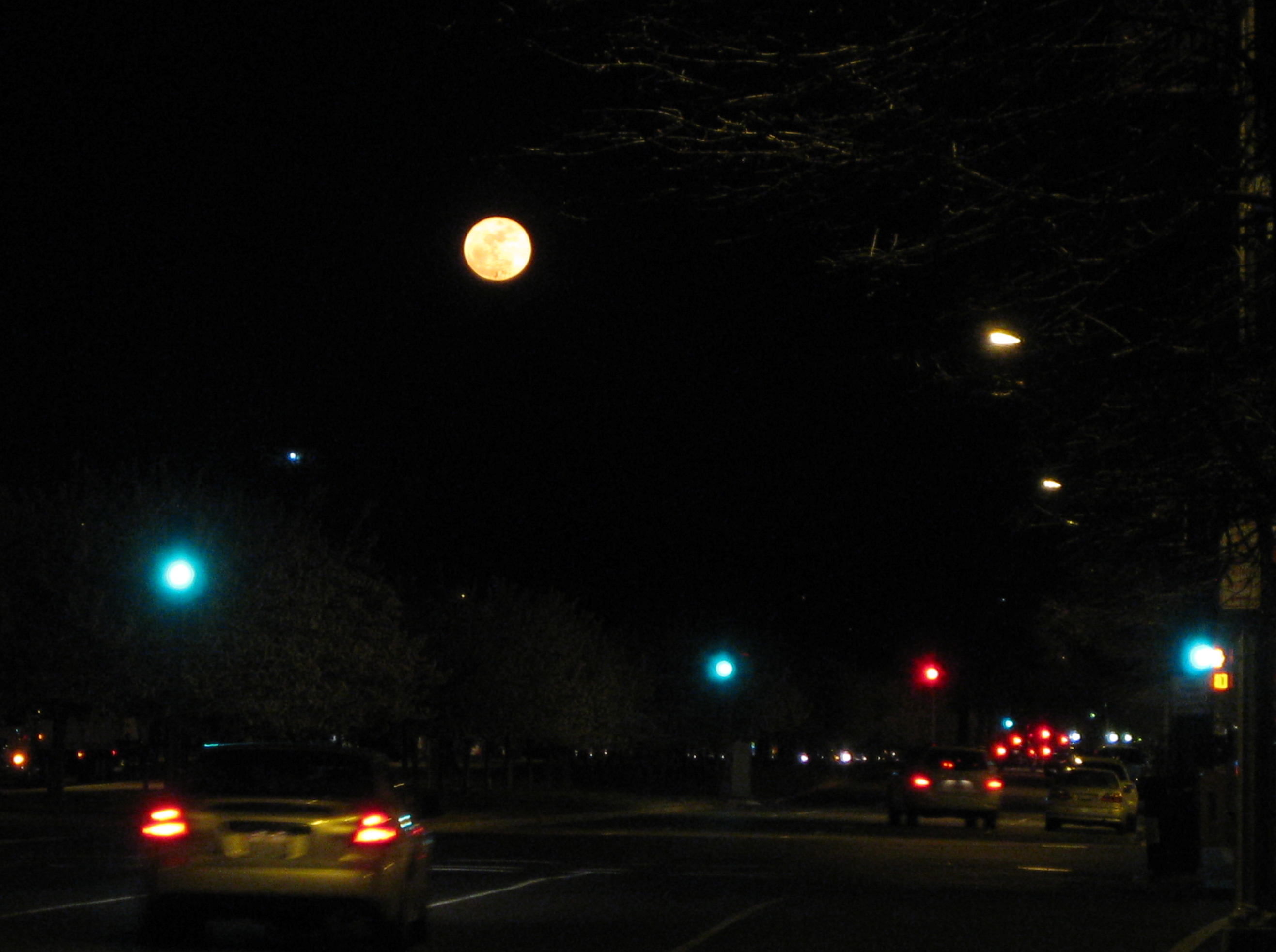 April 9: I was thinking my birthday wasn't going to have a picture until I got of the Metro and saw the huge, orange full moon rising over Pennsylvania Ave. My tiny camera doesn't do it justice -- it was truly beautiful.