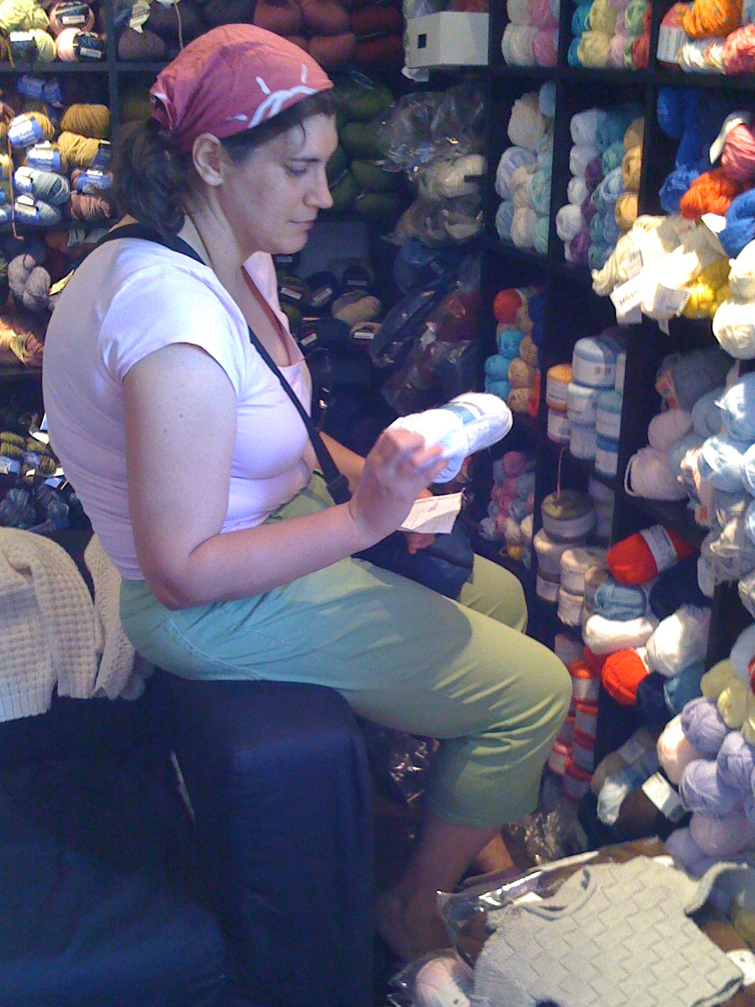 May 10: Trying to select yarn for a baby blanket, sprite is overwhelmed by the options at A Tangeled Skein.