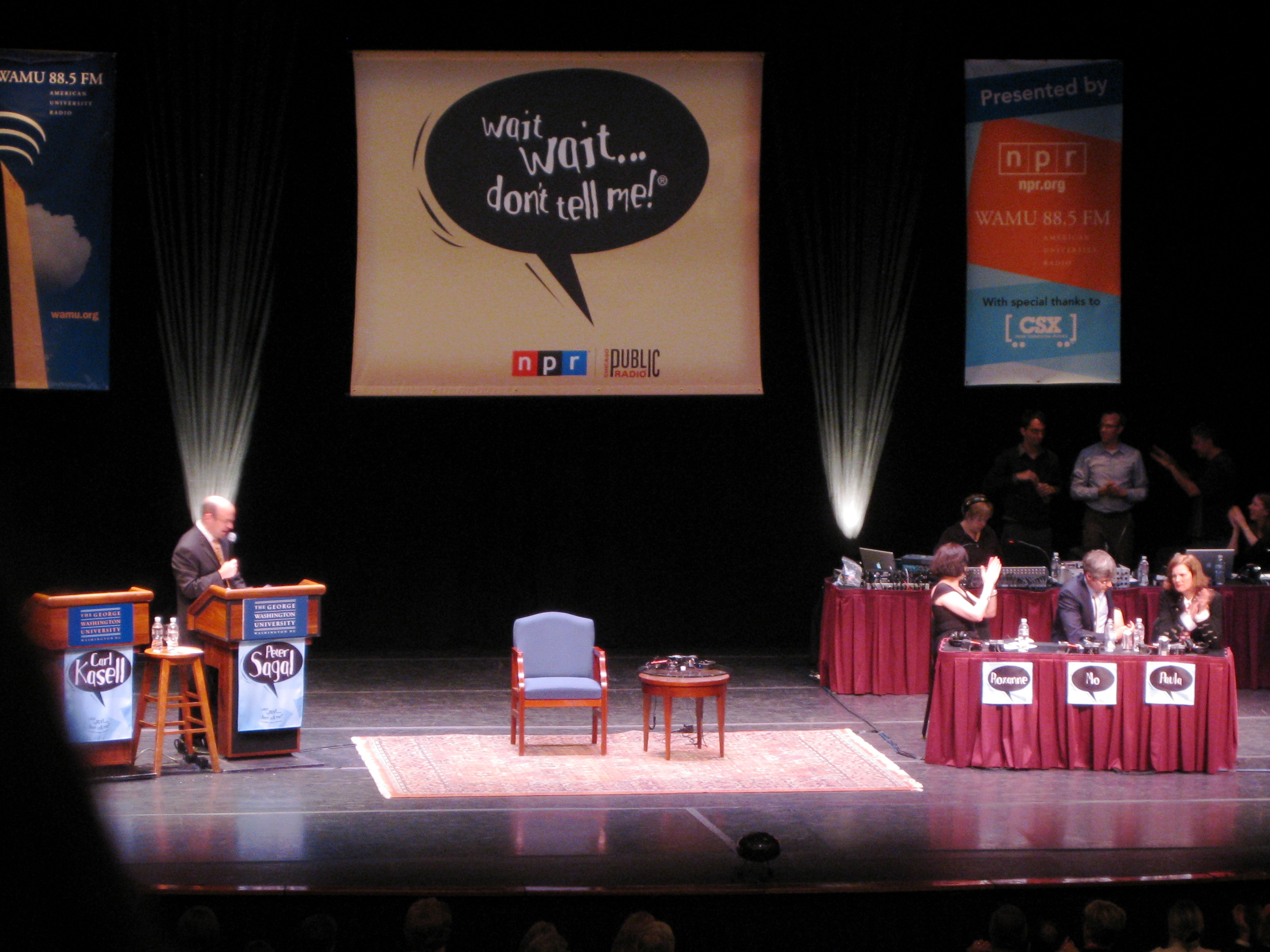 """May 14: On Thursday night, I went to see a taping of the NPR show """"Wait, Wait - Don't Tell Me"""" at  George Washington University. It was a fun -- and funny -- evening."""