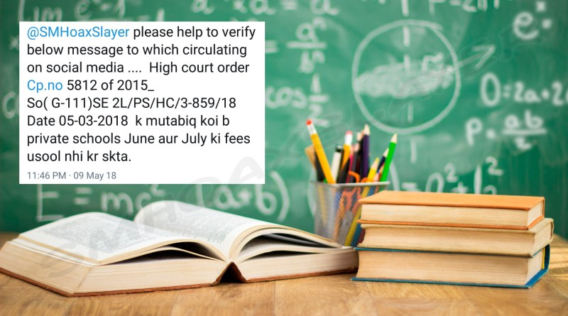 Did High Court say school can't charge fee for June & July ?