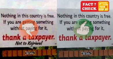 Image of a billboard from USA, thanking Tax Payers is viral in India with editing.
