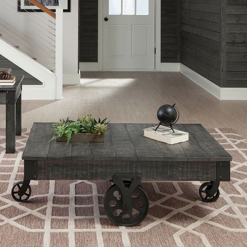 distressed country coffee table rustic grey