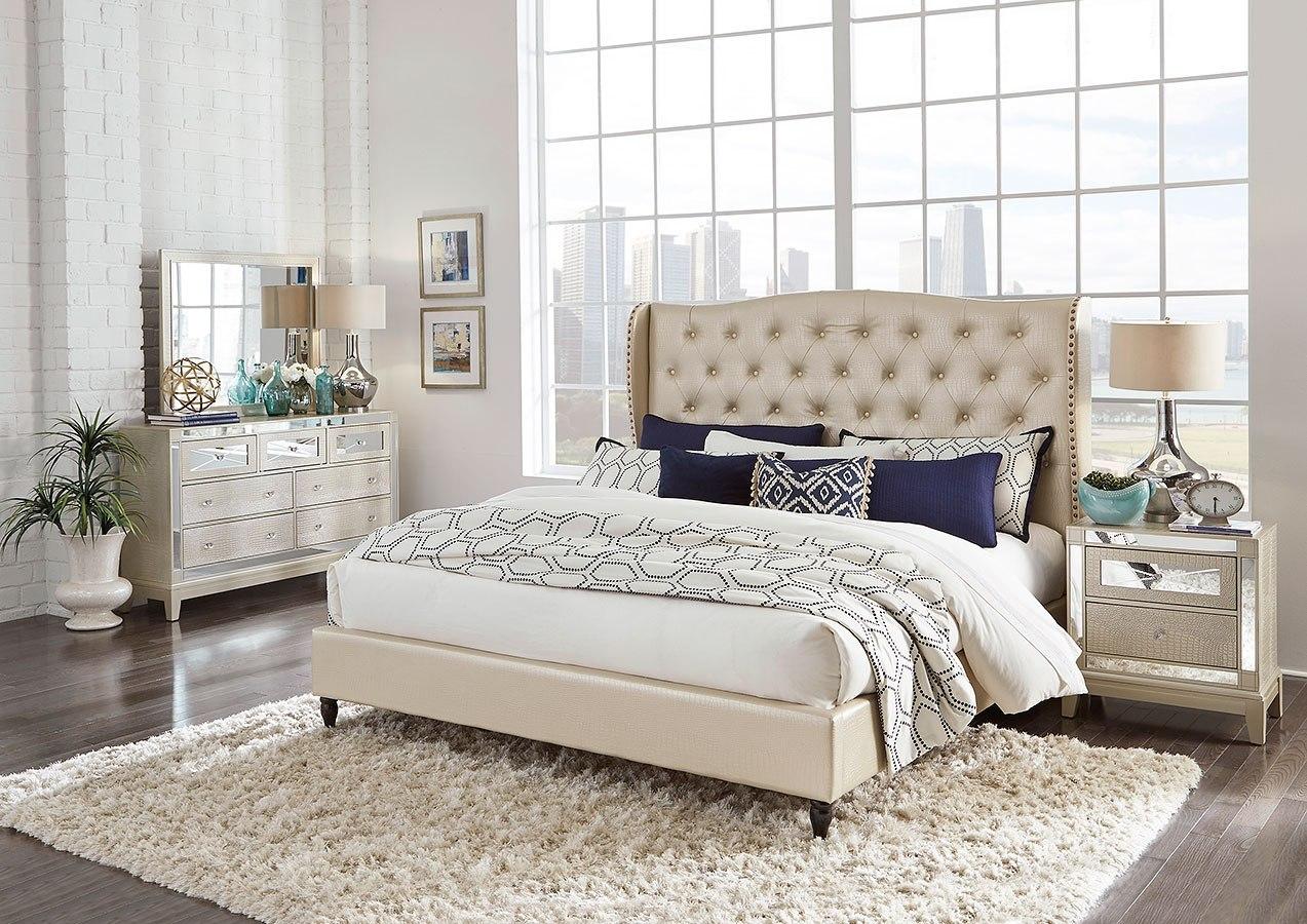 mirror upholstered bedroom set champagne