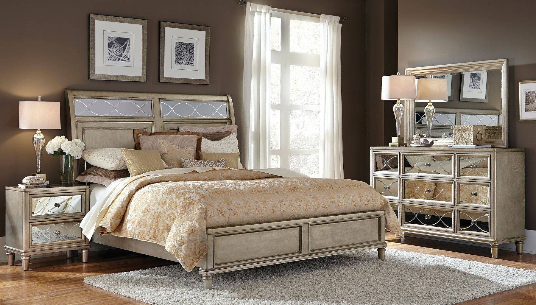 cut glass sleigh bedroom set