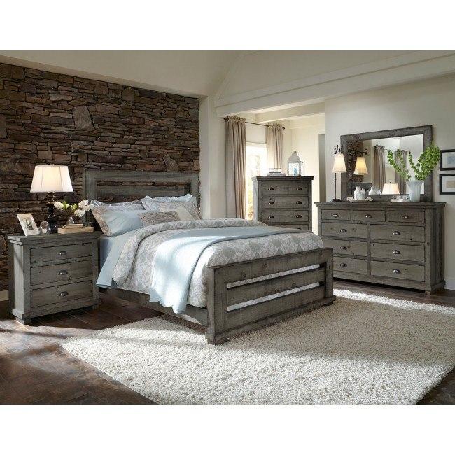 willow slat panel bedroom set distressed dark gray