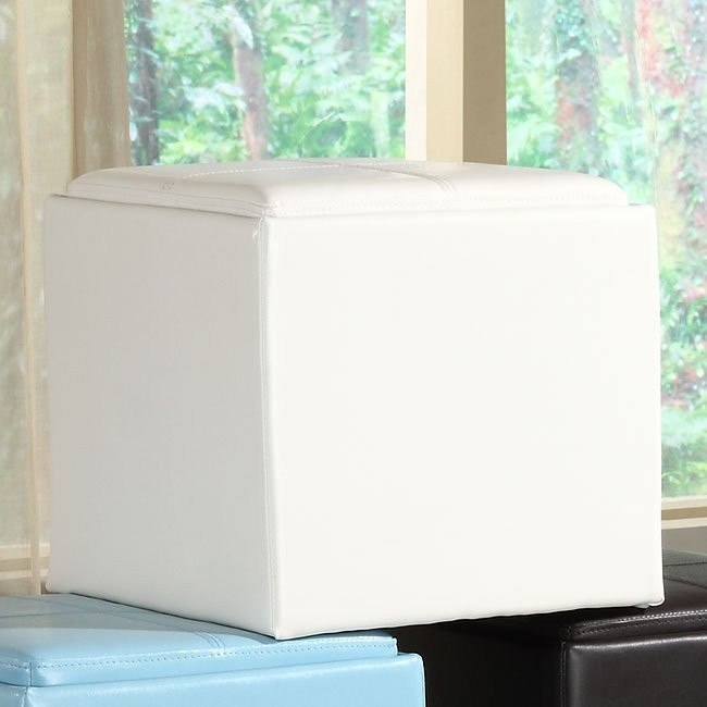 ladd storage cube ottoman white