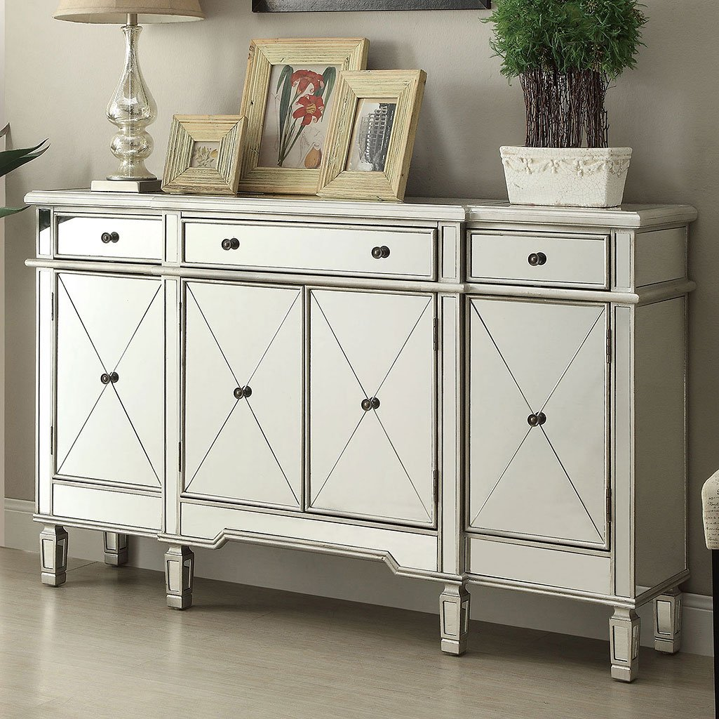Mirror Wine Cabinet W 4 Doors Bar And Wine Cabinets