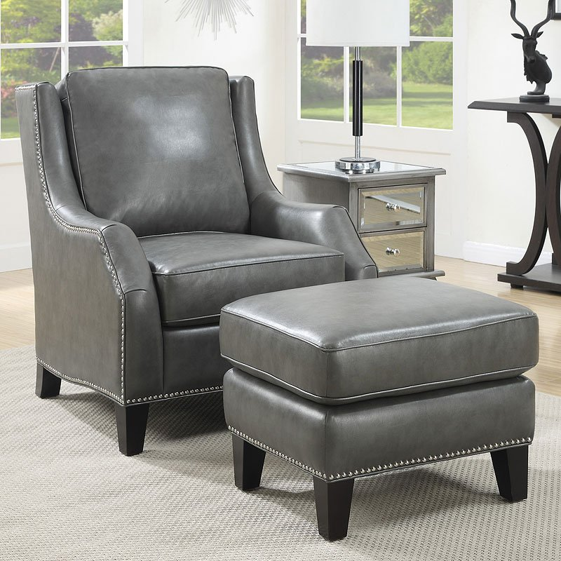 Grey Accent Chair W Ottoman Accent Chairs Living Room Furniture Living Room